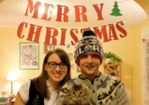 Us with our beloved cat, Minerva.
