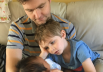 Dominic with little Theo, the baby of a friend to the family