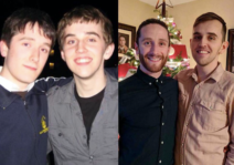 Out first photo together, then 10 years later