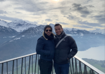 On top of the Swiss alps enjoying the views