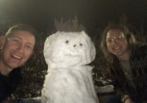 Late night road trip snowman making.