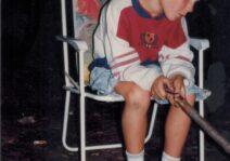 Young Charles roasting marshmallows
