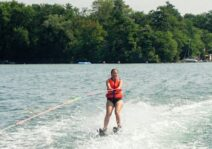 Lindsay waterskiing at the cottage.